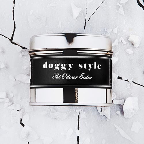 Doggy Style   Pet odour eater fragrance.  Dimensions: 77mm x 65 mm, approx 240g  £10