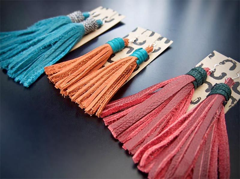 Tassel Earrings   Handcrafted in reclaimed leather.  Small  £12  Medium  £14  Large  £16