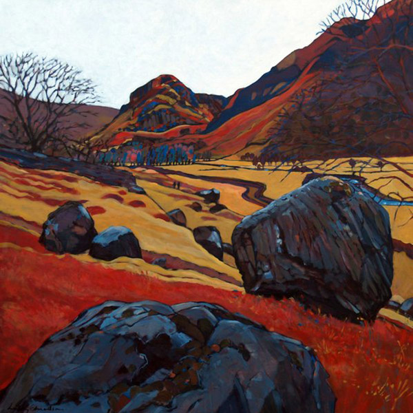 A Walk In Langstrath   Mounted fine art giclée print.  Image Size: 29 cm x 29 cm  With Mount: 41 cm (w) x 42.5 cm (h)  £85.00