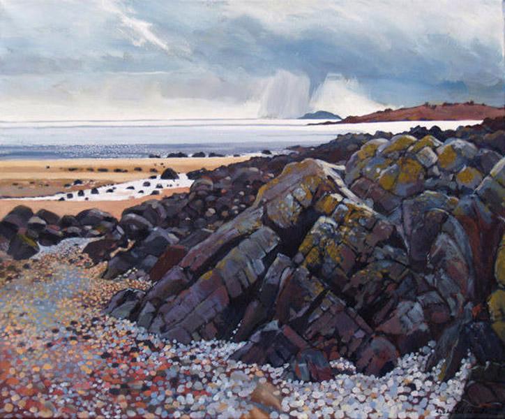 Rain Over Solway   Mounted fine art giclée print.  Image Size: 33 cm (w) x 28 cm (h)  With Mount: 46 cm (w) x 42 cm (h)  £85.00