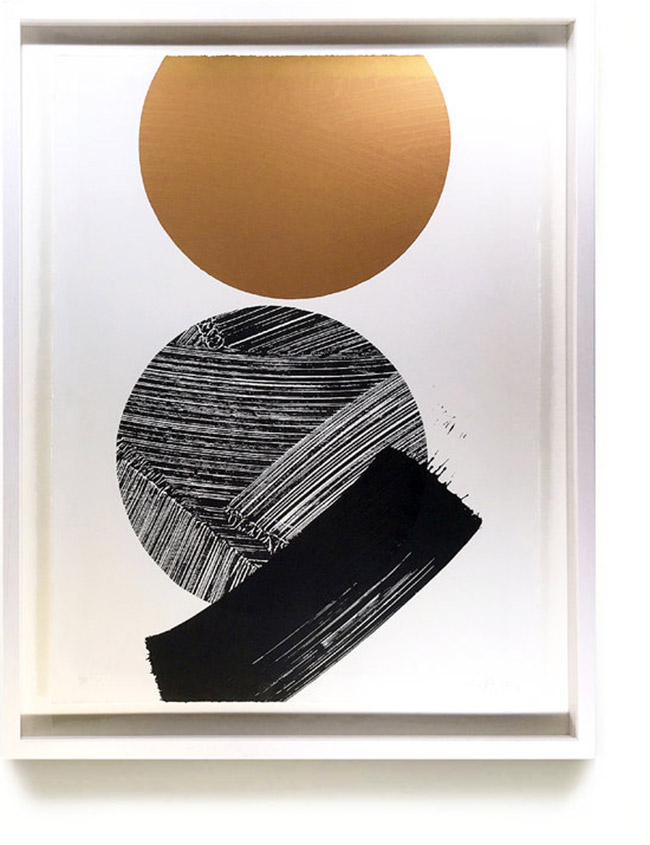 'Clear Stones'   100% cotton, deckled edged 'Somerset Satin' paper, 300gsm  3 colour screen print (including metallic copper ink) Hand printed in Birmingham 2017  Dimensions: 56 x 76 cm Edition Number: 5/10  Lucy McLauchlan  £295.00  This series was inspired by Lucy's trip to New Zealand for the Paradox exhibition at Tauranga Art Gallery. The title pays homage to the musicians Fis & Rob Thorne's collaborative LP 'Clear Stones' which accompanies the award winning short film Matthew Watkins made documenting her time in Tauranga.