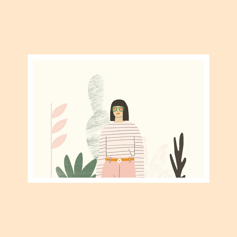 Girl With Plants   Signed heavyweight full colour digital A3 art print. Limited edition of 100.  Print Size: A3  £28.00