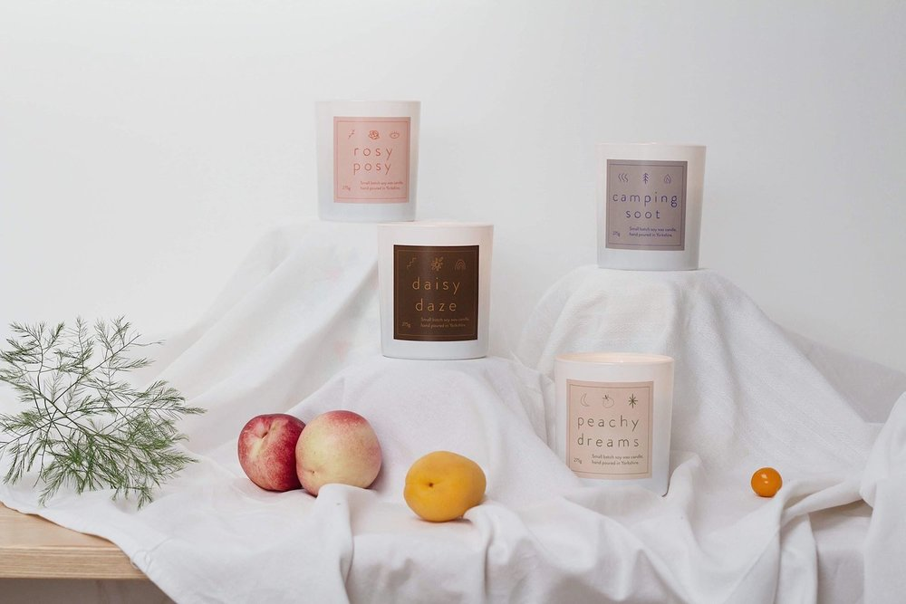 Soy Wax Candles   Up to 55 hours burn time.  Soy wax made from 100% soy beans and carefully selected botanical oils.  Flat braided cotton wick.  Large glass container.  Packaged in premium white box, liner and closure sticker.  Made in the UK, hand poured in small batches in Haworth, Yorkshire.  275g (Net)  £30.00 each