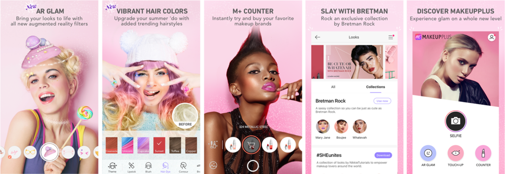 Screenshot:  A fresh look and new interactions for Meitu's Makeup+ App.