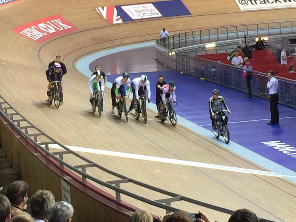 Andy being pushed off to take the derny by coach Rob in his Keirin heat