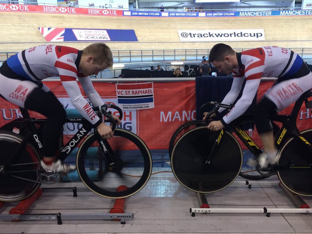 Rory and Andy warming up for the team sprint.