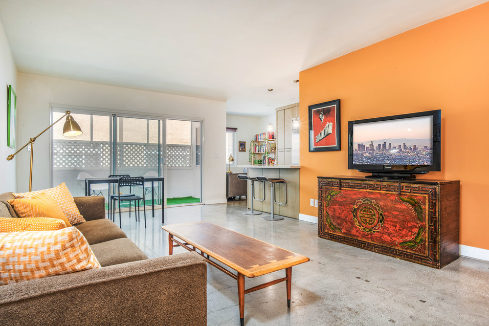 Mid-century modern style, 1 bedroom condo, polished concrete floors