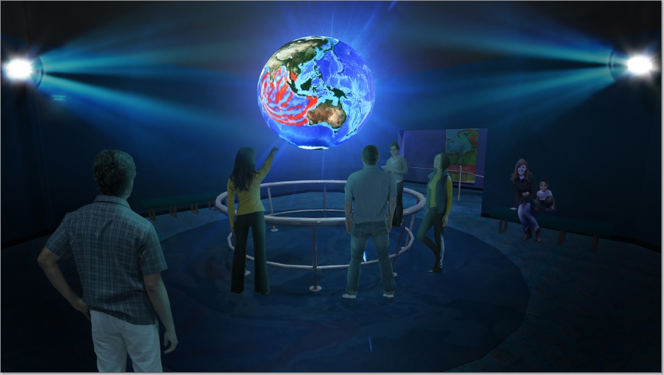 Science on a Sphere ®  Developed by NOAA, this room sized global display brings to life real time planetary data on weather, global climate, seasonal marine migration and more.