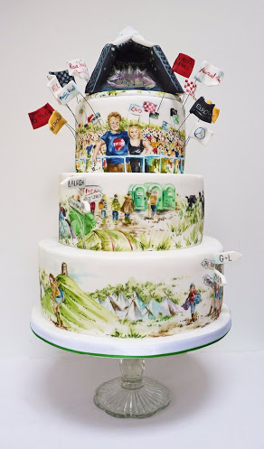 Hand Painted - This stunning cake belonged to some friends of mine and you don't get much more bespoke than this for a wedding! So much fun and designed specially for the couple, this Glastonbury cake was baked and hand painted by the wonderfully talented Natasha Collins @ Nevie Pie Cakes. Whatever your wedding style, this is a fabulous option as each cake is hand designed and created just for you. It's also bang on trend! Check out some of her other work - http://www.neviepiecakes.com/