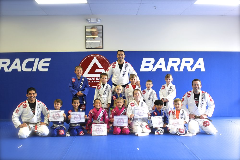Professor Felipe Guedes with Gracie Barra San Clemente Kids Instructors