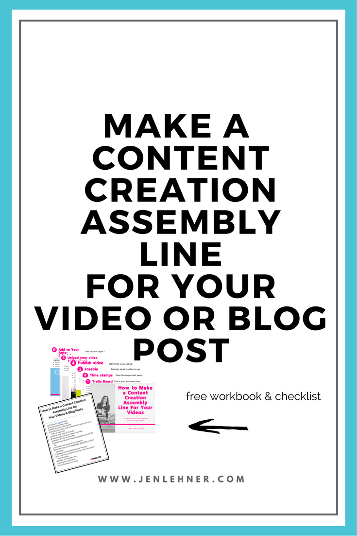 content creation assembly line for your video or blog post