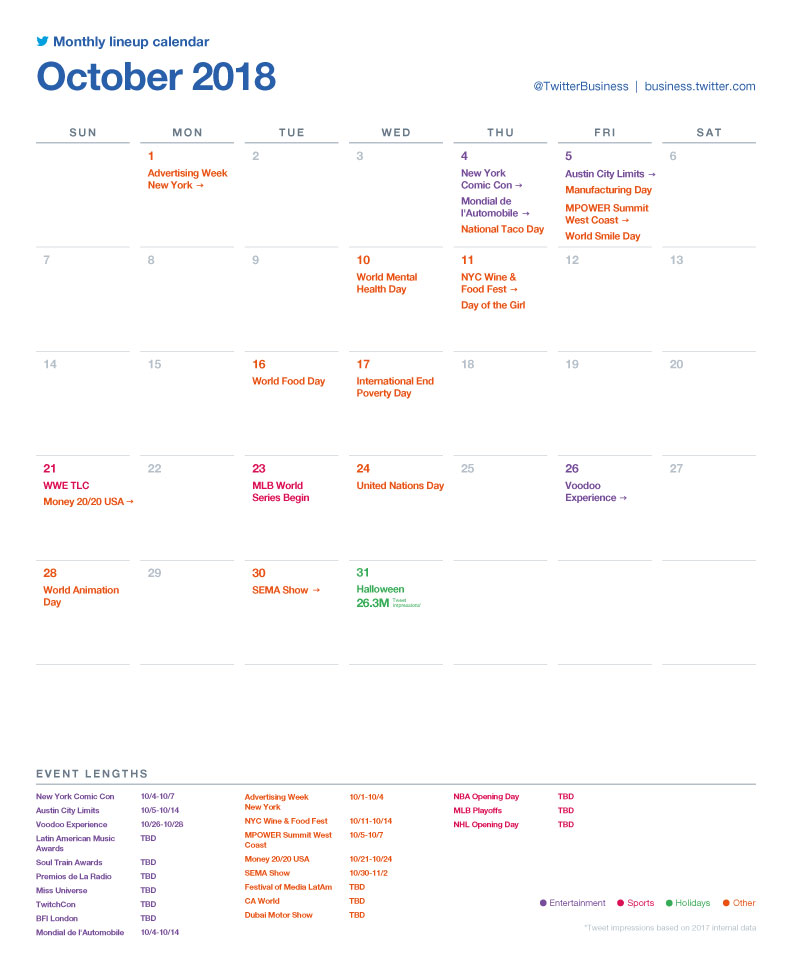 Twitter Releases Major Events Calendar for October to Help with Strategic Planning  Source: Social Media Today