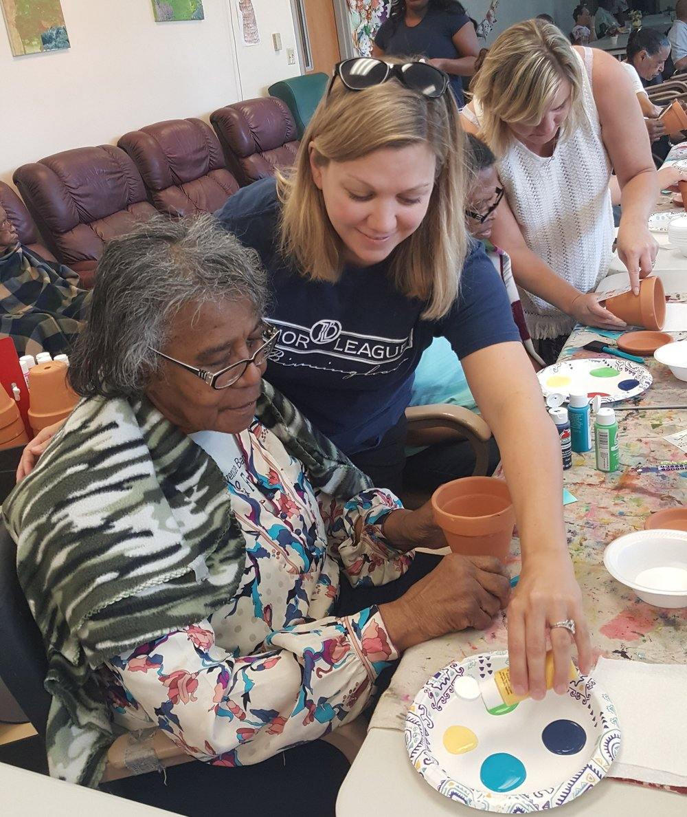 Members of the Junior League of Birmingham enjoying an afternoon of painting with our clients.        Click the Facebook icon to check out more pictures and activities on our Facebook page!