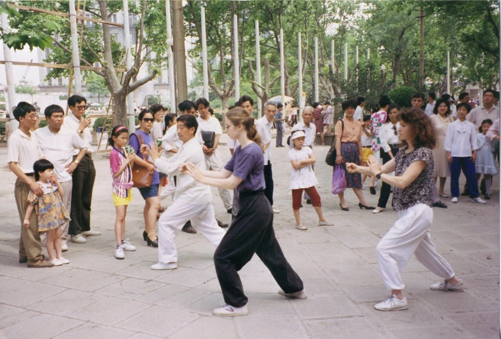 Grand Master Liu Xiao Ling teaching the Yang Chen Fu form in Shanghai China with students