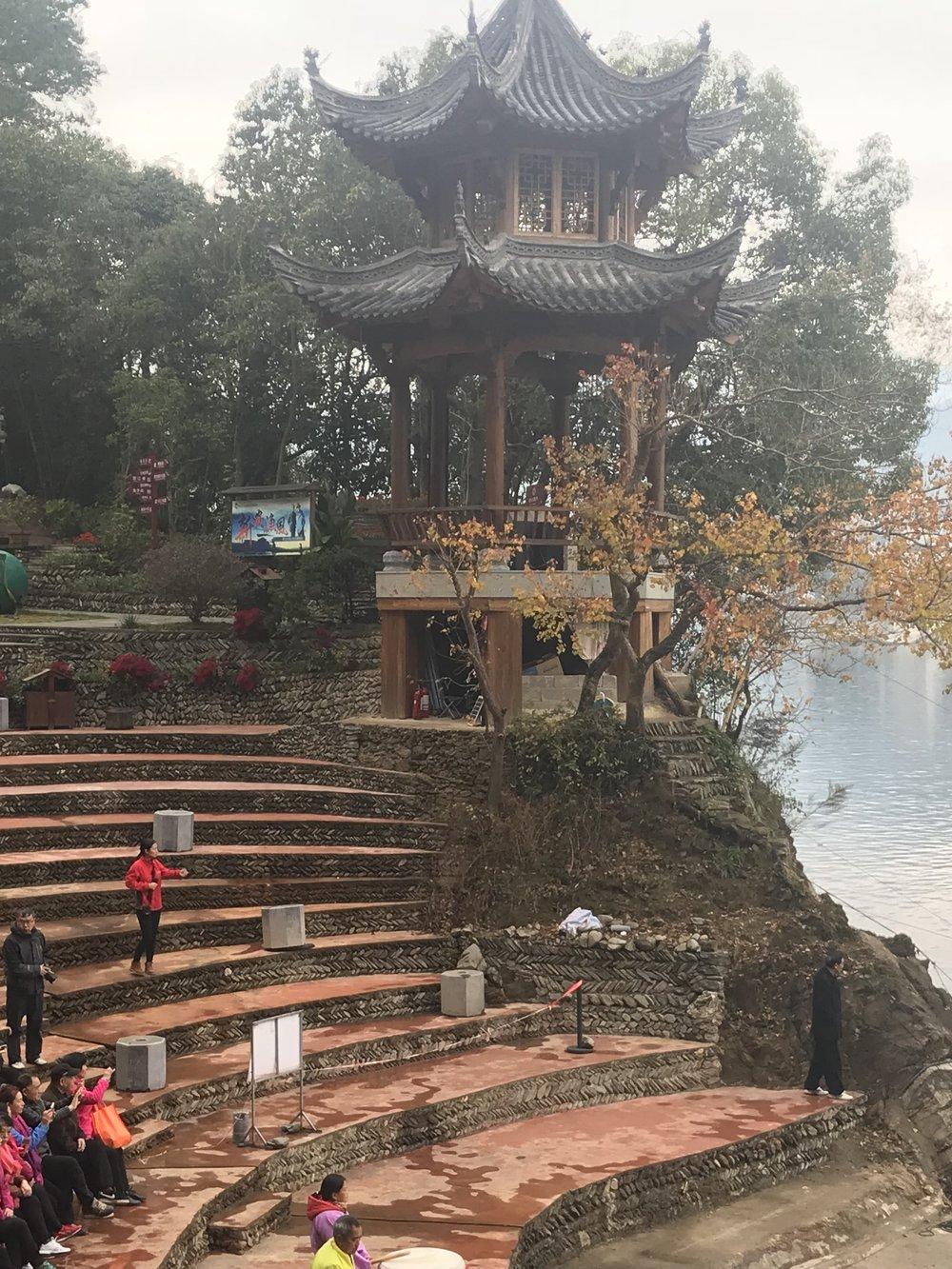 Amphitheater along Shen Du River near Huang Shan Mountain