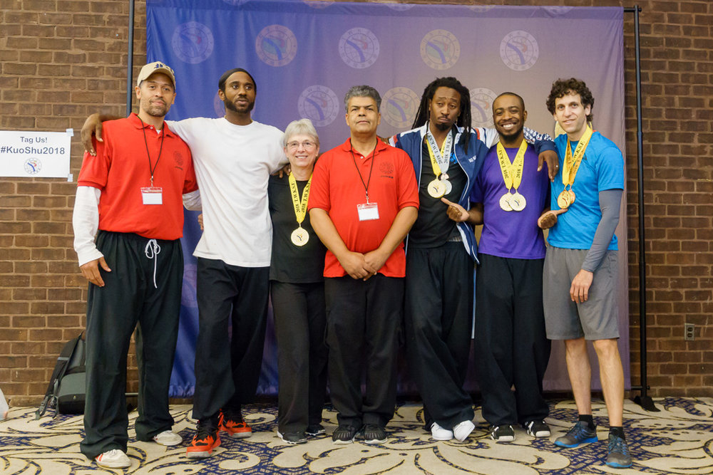 Shi Fu's Alexander King and Paul Ramos with the Wu Shen Tao Kuoshu World Tournament Competition team 2018- Congrats on a great job for them all !!