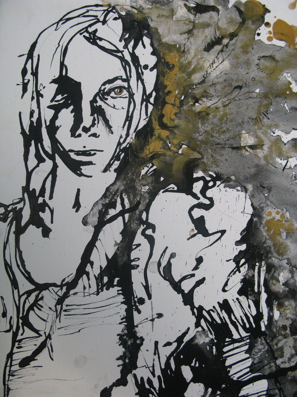 IB Art (1st yr): Gestural drawing: Self portrait study in pen and ink wash. Artist: Maria Kalach