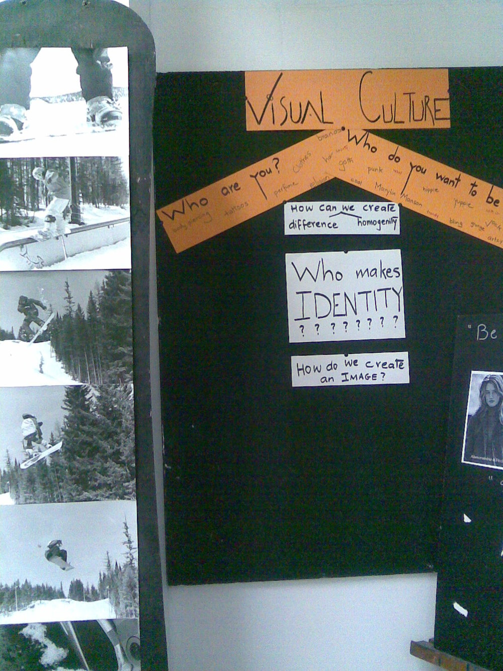 A view of the classroom: Student created Snowboard displaying a photo essay on snowboarding, in Photo II