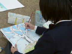 A middle school student working with watercolors, Nagoya, Japan