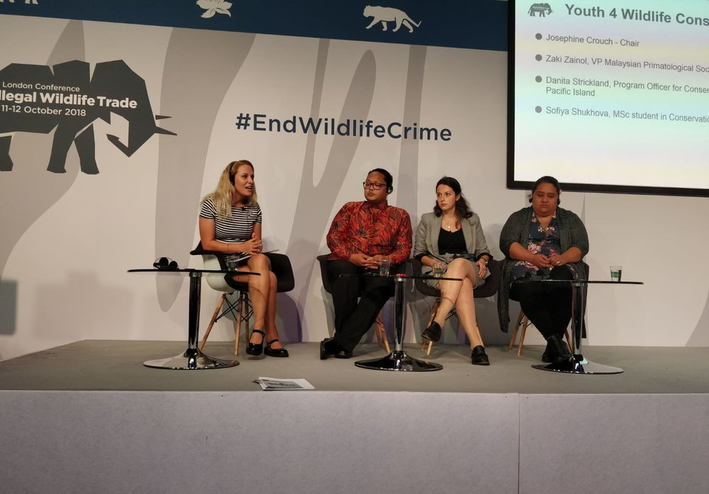 The Youth For Wildlife Conservation side-event at the IWT Conference 2018. Left to right; Josephine Crouch, Zaki Zainol, Sofiya Shukhova, Danita Strickland.