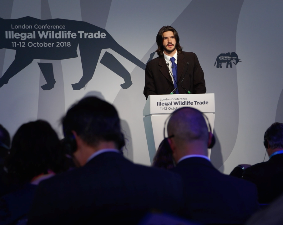 Lecturing at IWT London 2018 to present the ICAWT campaign to tackle wildlife trafficking.
