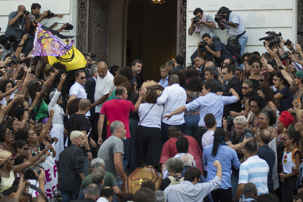 March, 15, 2018. 3pm.Carried by family and friends,  the coffins of city councilor Marielle Franco and her driver Anderson Gomes arrive  at Rio de Janeiro's City Council. The funeral was closed to relatives and friends, as a family request.