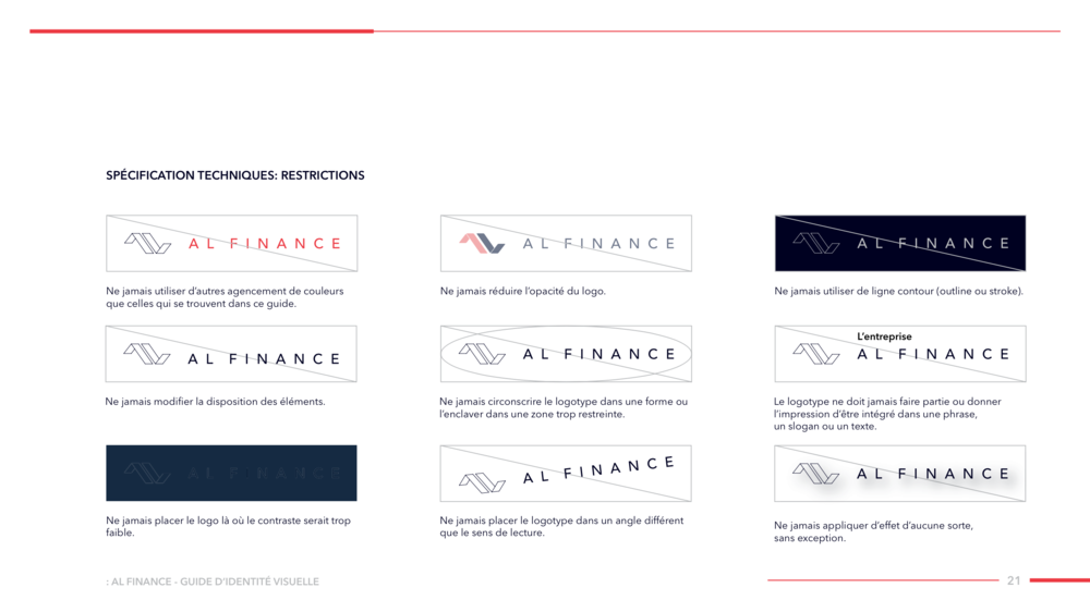 AL FINANCE Visual Identity Guide Designed by threefold Agency Page 22