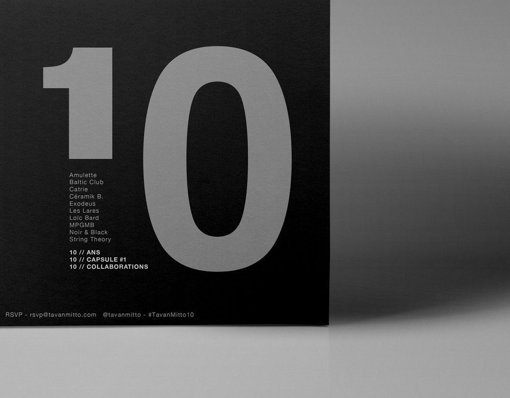 Graphic Design for Tavan & Mitto 10th Anniversary by threefold agency 3