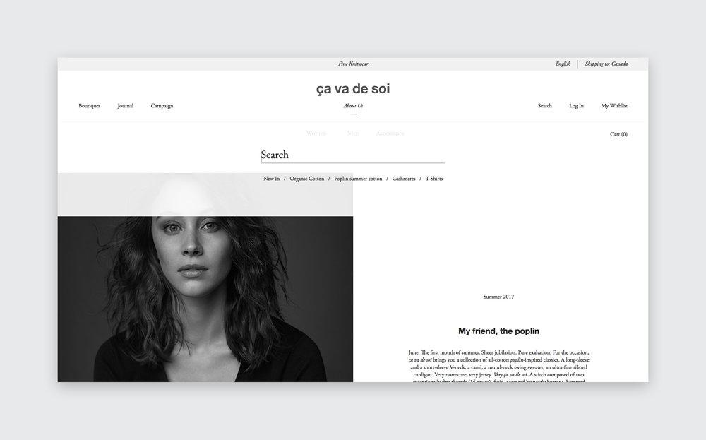 Website design by threefold for ça va de soi