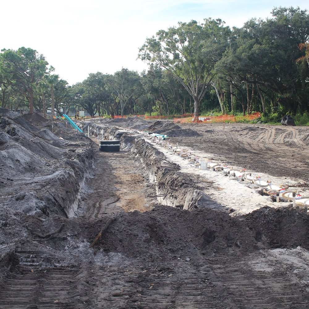 Trench for sewage and drainage.