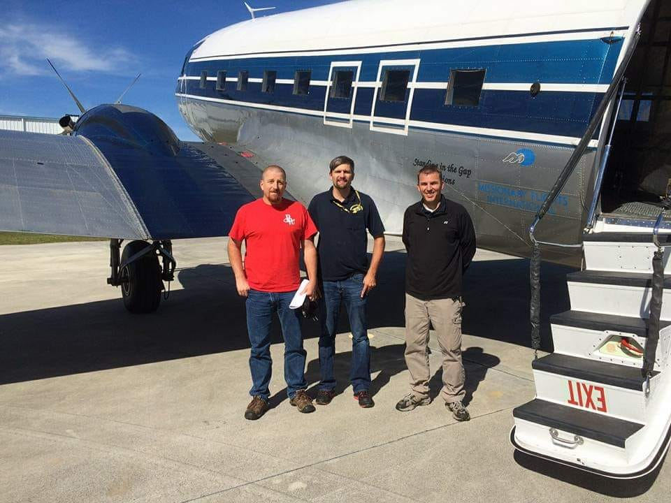From Left to Right: Brian Stoltzfus, MFI Pilot Ryan Anders, and MFI Chief Pilot Ray Oostdyk. Picture was posted by Joy Anders, wife of MFI Pilot Ryan Anders, in memorializing Brian Stoltzfus.