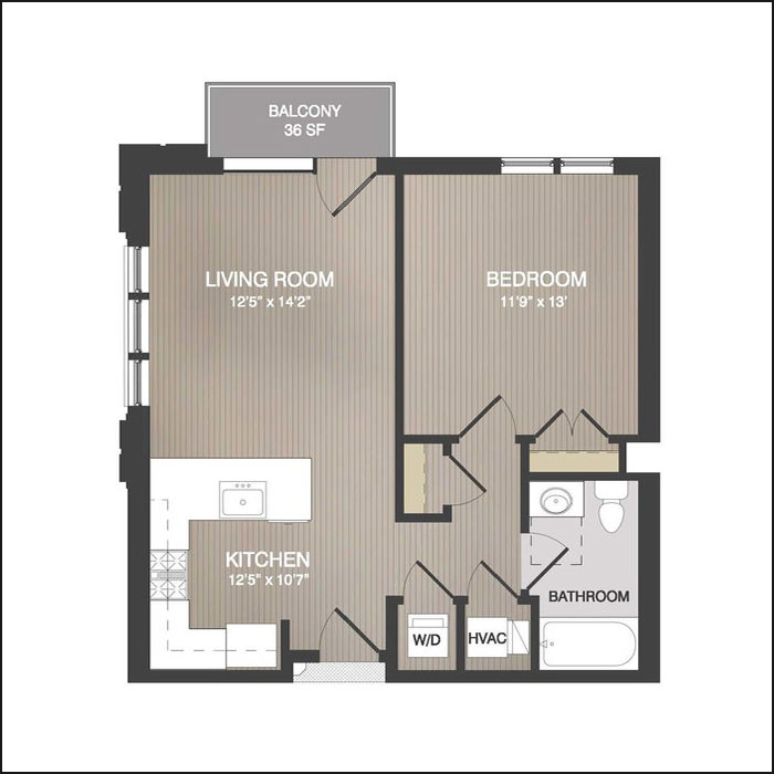 TYPE A - 686 Sq. Ft.36 Sq. Ft. Balcony at courtyard1 Bedroom, 1 BathroomStarting at $1,580/month