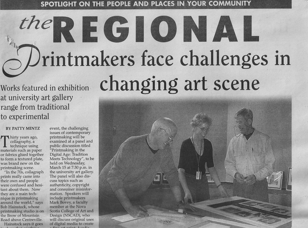 Bob, Ed Porter, head of Printmaking at the Nova Scotia College of Art & Design, and Fran Kruschen, director of the Acadia University Art Gallery, plan an opening for the annual exhibition of the Nova Scotia Printmakers Association.
