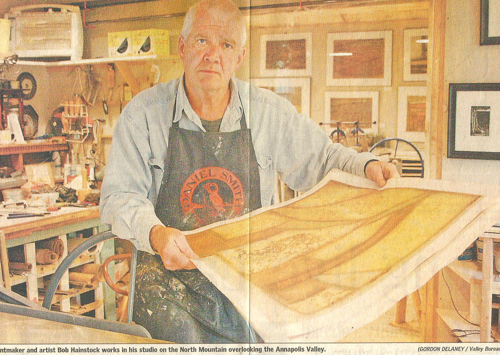 A Nova Scotia daily newspaper did a strong feature of Bob's new printmaking studio in downtown Kentville.