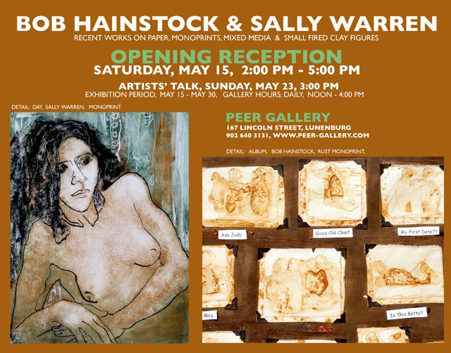 Wall poster for a two-artist exhibition at Peer Gallery in Lunenburg.