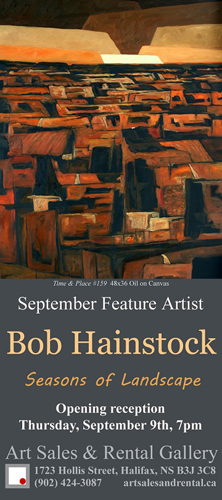 Small poster for Bob's exhibition at Art Sales & Rental Gallery at the Art Gallery of Nova Scotia.