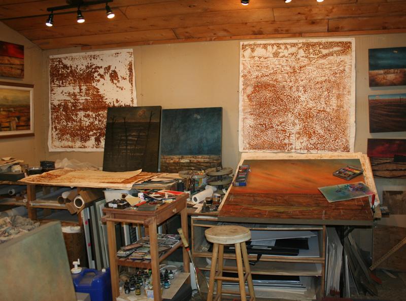 Part of studio's paper working area