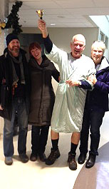 Not exactly a big fashion statement but no one seems to notice Bob's lack of color sense. The bell-ringing occasion signals the end of radiation treatments for Bob's prostate problems. Sharing the moment were Judy, Meg and Stephen.