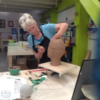 Judy begins work on her new clay pieces