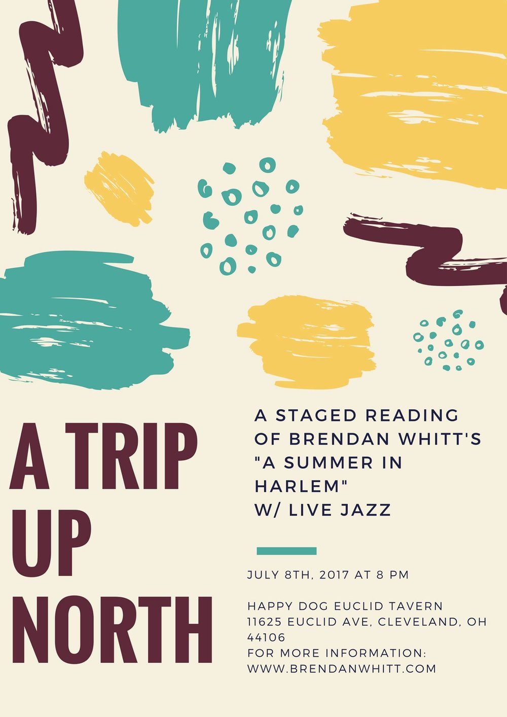 "A Trip Up North is a staged reading of selections from Brendan Whitt's ""A Summer In Harlem"" novella. The reading will feature Cleveland area poets and actors and will be accompanied by live Jazz and music from DJ NuERA"