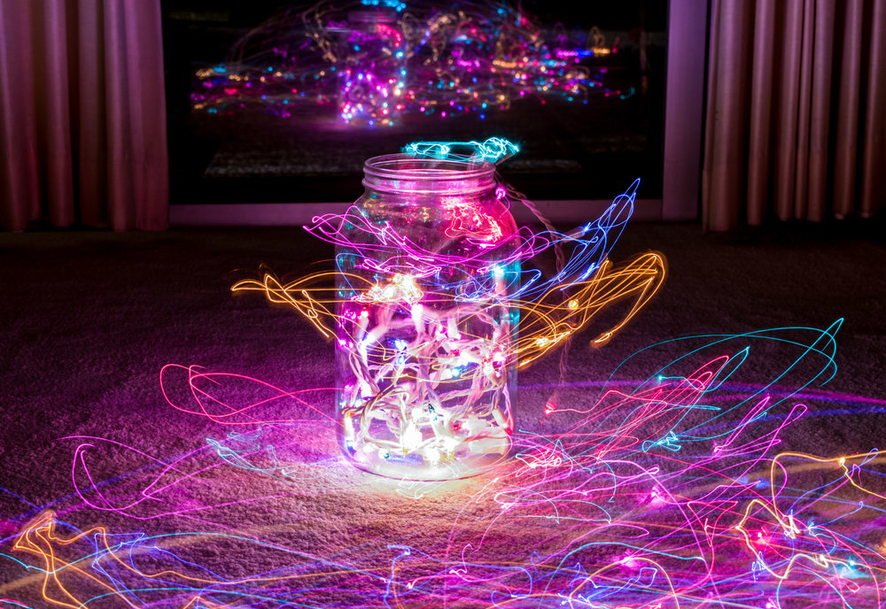 Christmas lights in a jar in my home.