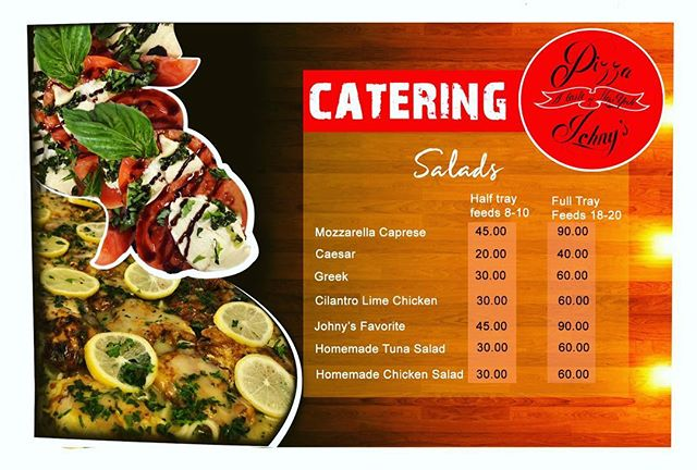 Salads catering menu!! Enjoy your party with a nice refreshing salad from your favorite pizza place! ✨🌟 #bestpizza #miami #miamilifestyle #pizzajohnys #capresesalad #saladseason