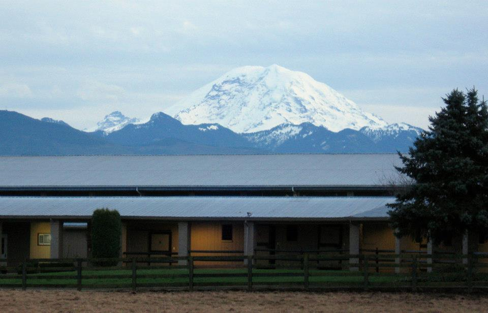 Peaceful Setting Mount Rainier creates a scenic backdrop at our facility