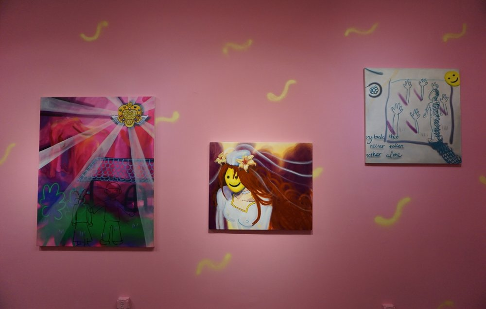 From left to right  Sailor Light, 56 x 44 inches, 2017, oil on canvas  Wedding L, 34 x 38 inches, 2017, oil on linen  Memoir (A Note of Memory), 36 x 36 inches, 2017, oil on canvas
