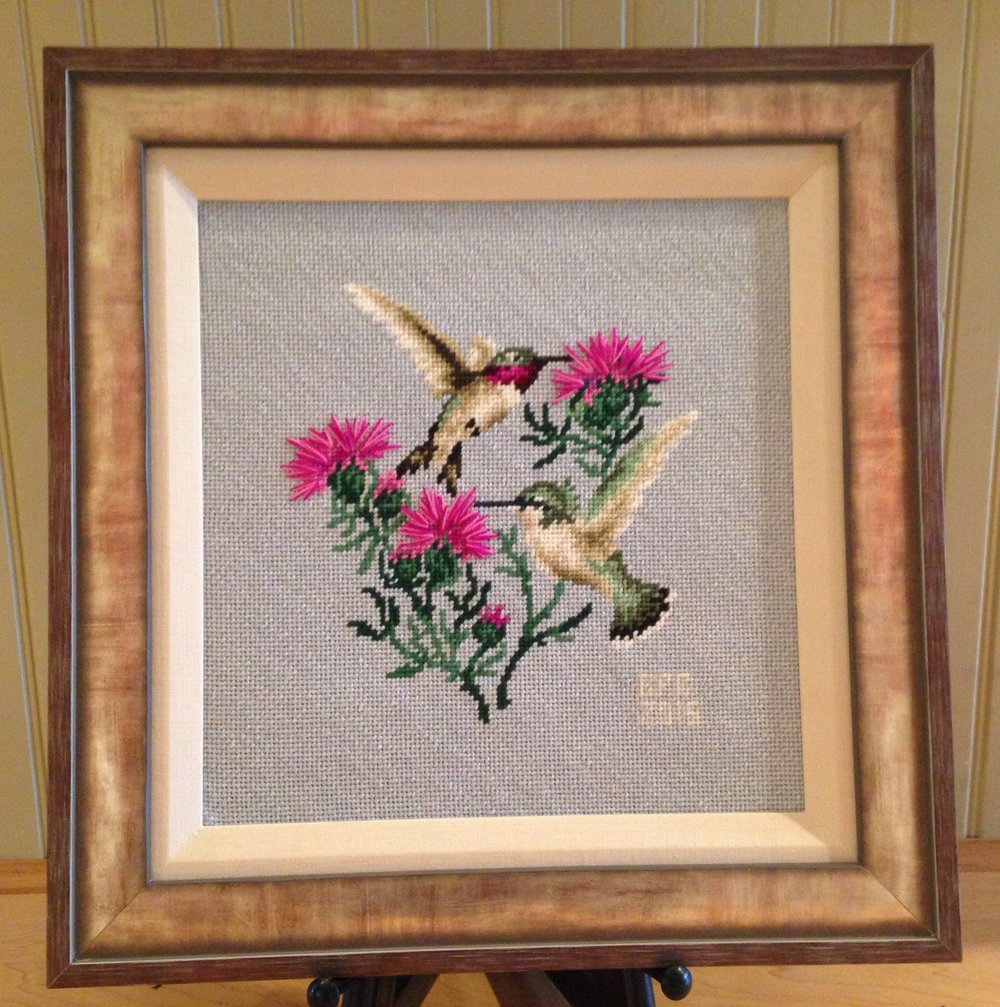 Custom Framed Hummingbird Needlework