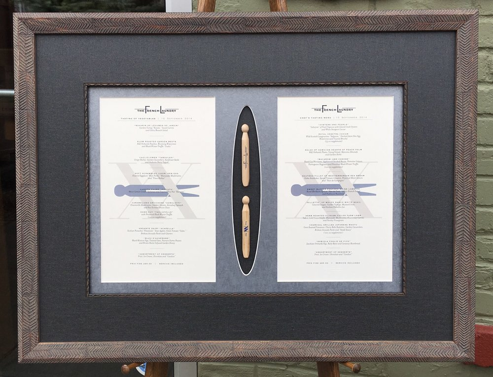 Custom Framed Napa Valley Menu