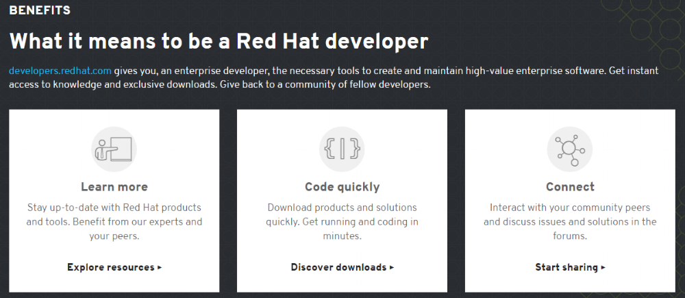 Red Hat focuses on the ease and speed with which you can learn their products.