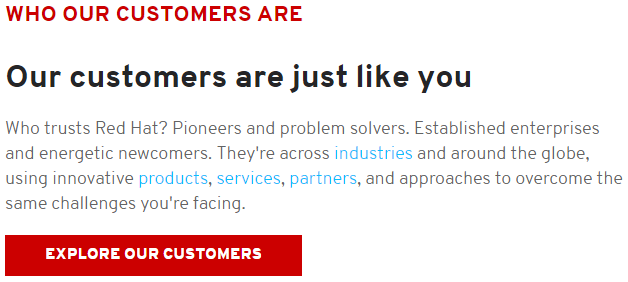 Red Hat uses social proof to build trust with their audience.