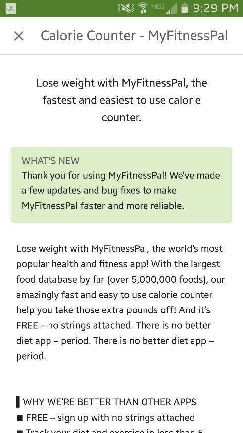 MyFitnessPal does a great job of optimizing their app for the app store
