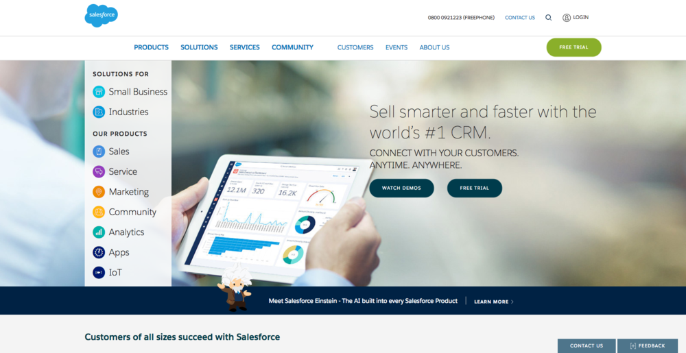 A free demo offer like this one from Salesforce might be just what your prospects want.